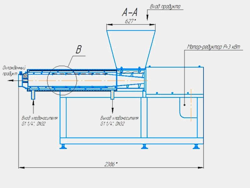 Охладитель творога двухшнековый ОТ-2